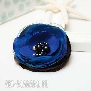 ręcznie robione broszki niebieska broszka przypinka kwiatek, elegancka