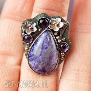 pierścionek srebrny z czaroitem a714, prezent, romantyczny prezent
