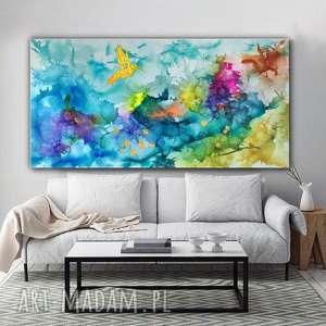 """""""Kolibry w tęczowej mgle"""" - abstrakcja na płótnie, obraz ręcznie malowany, dosalonu"""