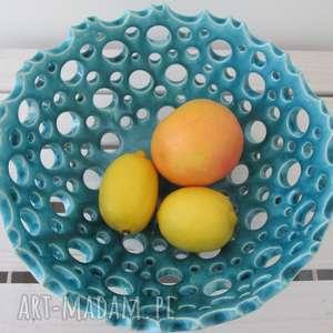 ażurowa turkusowa misa, miska, na-owoce, dekoracyjna, artystyczna, ceramiczna
