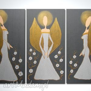 obrazy ręcznie malowane anioły szczęścia i dobrobytu - a18 90x70cm, anioły, obraz