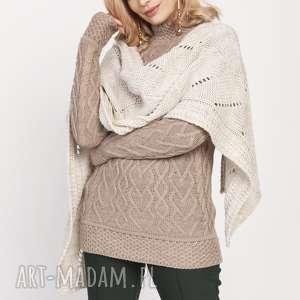 Dzianinowy szal, szal001 beż mkm szaliki swetry do pracy