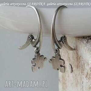 mini puzzle kolczyki ze srebra, srebro oksydowane