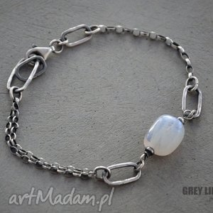 moonstone bryłka bransoletka srebrna, srebro, kamień, księżycowy, moonstone