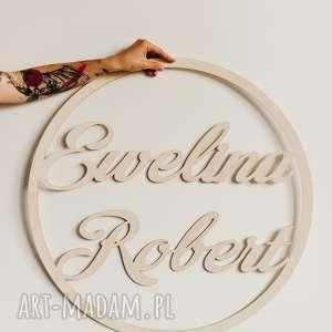 ręcznie robione drewniane koło z imionami 90 cm/ obręcz na wesele