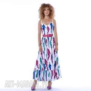 sukienki teofila - sukienka boho, piórka, rozkloszowana