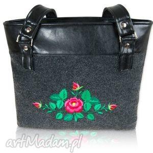 filcowa torebka róża - t203016, shopper, filcowa, haft, folk, podhalański, róża