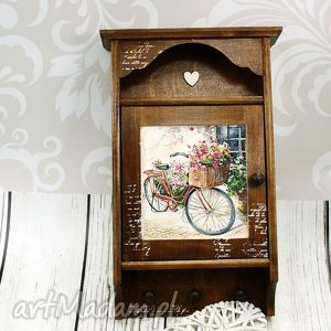 wieszaki szafka na klucze- rowerowy bukiet , rower, drewno, przedpokój, skrzynka