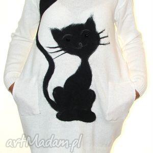 sukienka wełną zdobiona - filcowanie, wełna, koty, dzianna