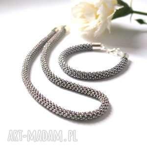 komplety naszyjnik i bransoletka koralikowa w kolorze ciemnego srebra