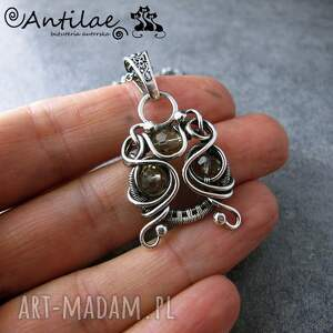 Qoomaan II - Kwar dymny, srebro, wire wrapping, naszyjnik, kwarc, srebro