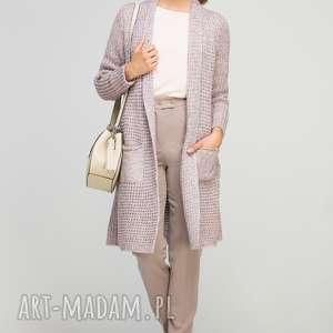 Długi, ciepły sweter, SWE112 róż, casual, ciepły, płaszczyk, kieszenie, długi