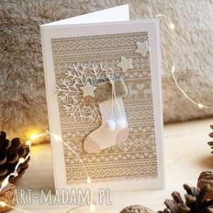 hand made prezenty święta kartka ze skarpetą