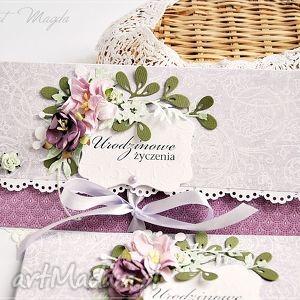 kartka na urodziny - kartka, urodziny, kwiaty, hande, made