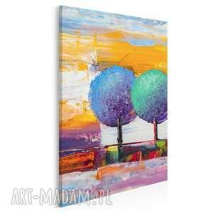Obraz na płótnie - drzewa kolorowy artystyczny w pionie 50x70 cm