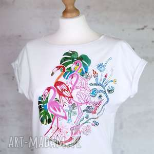 FLAMINGI koszulka bawełniana biała z nadrukiem S/M, bluzka, koszulka, monstera