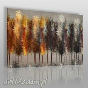 Obraz na płótnie - LAS DRZEWA OGIEŃ 120x80 cm (46901), las, drzewa, ogień, ciemny