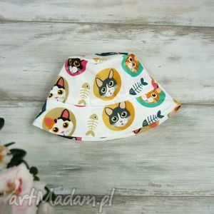 kapelusz dla dziecka kotki - bawełna dziewczynki, wiosenny