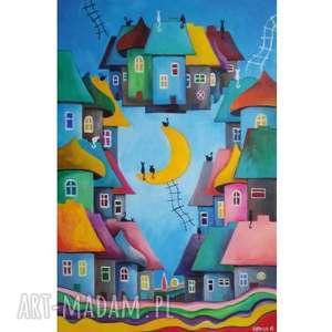 Obraz na płótnie MIASTECZKO format 40/60 cm , płótno, miasteczko, koty, obraz
