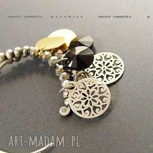 SREBRO, kolczyki swarovski black w złocie, swarovski, zawieszki, srebro, koła