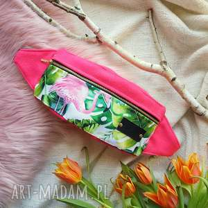 nerki nerka saszetka na pas z flamingiem różowa, flaming, nerka