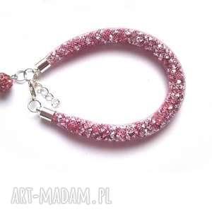 bransoletki bransoletka stardust z shamballą pastelowy róż, stardust, gwiezdna