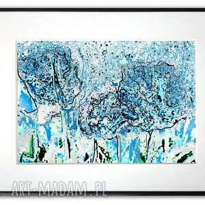 grafika w ramie z passe-partout niebieska łąka 40x30