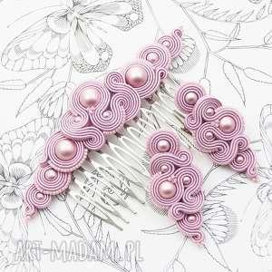 zestaw milino pink soutache, kolczyki, ozdobadowłosów, orienalny, komplet