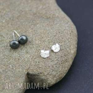 Kolczyki srebro 925 perła , kolczyki, srebrne, wkrętki, perełki, płaskie, swarovski