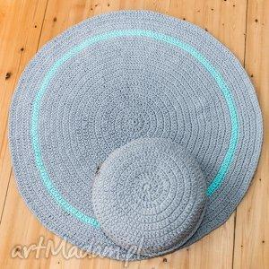 zestaw dywan 110 cm i pufa 45x10 cm - dywan, pufa, puf, siedzisko, sznurek, bawełniany