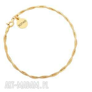 złota pleciona bransoletka, łańcuch, pleciona, pozłacana, elegancka, delikatna