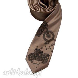 Prezent Krawat Motocykle, krawat, nadruk, motocykl, motocykle, brąz, prezent
