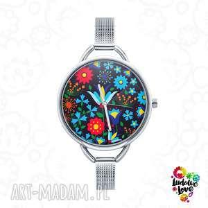 zegarek z grafiką kaszubski czarny, folk, etniczne, kwiaty, ludowe, kaszuby, kwiat