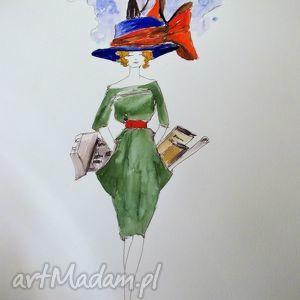 Akwarela i piórko KOBIETĄ BYĆ artystki plastyka Adriany Laube, akwarela, kobieta