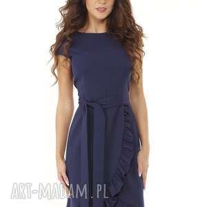 Elegancka sukienka falbaną i paskiem granatowa, elegancka-sukienka