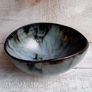 owalna piękna misa w granacie i czerni, ceramiczna, misa