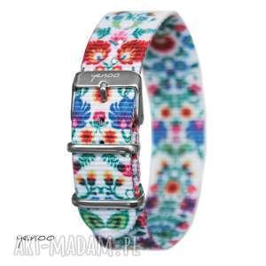 hand-made zegarki pasek do zegarka - nato, nylonowy, folk biały