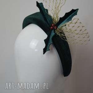 wyjątkowy prezent, świąteczna puffy, opaska, zielony, welur, święta