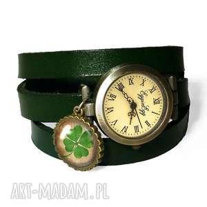 czterolistna koniczyna - zegarek bransoletka na skórzanym - szczęście