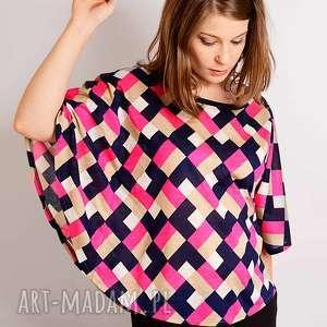 kolorowa wełniana bluzka w romby, kolorowa, intensywne, geometria, róż, unikat