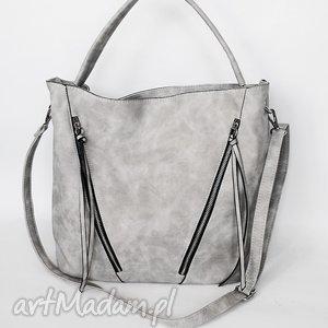 Duża torba z kieszeniami- szara, torba, torebka, worek
