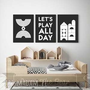 zestaw plakatów dla dzieci lets play all day a3, plakaty, obrazki dziecko