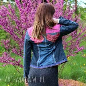 ręcznie wykonane kurtki dzinsowa kurtka w styli boho kolorowa