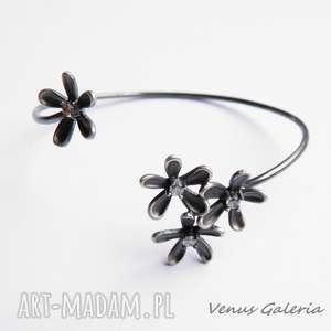 Bransoletka srebrna - Subtell IV gray, srebro, bransoletka, oksyda, venus, kwiatki
