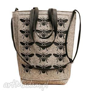 bzyki - ,torba,filcowa,duża,muchy,szara,