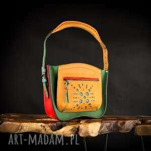 wielokolorowa skórzana torebka wykonana ręcznie, idealny prezent dla niej