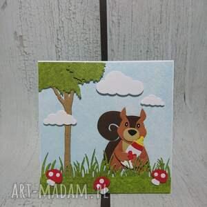zaproszenie kartka z wiewiórką - narodziny, wiewiórka, las, urodziny