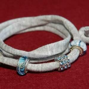 bransoletka z niebieskimi koralikami modułowymi, modułowy, niebieska, szara