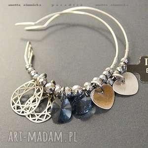 SREBRO, kolczyki swarovski blue w ażurowanym srebrze, swarovski, srebro, zawieszki