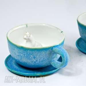 Prezent Ceramiczna duża filiżanka z figurką kota - Turkus 310 ml Na prezent